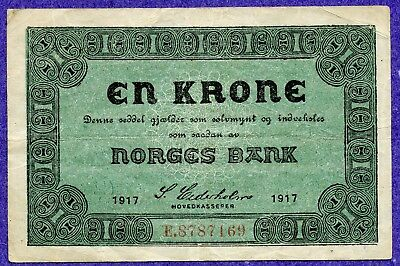Norway 1 Krone 1917 Prefix E VF Condition !!!!