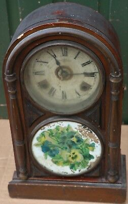 Good Very Old & Dirty Looking Large Round Topped Mantel Clock To Restore