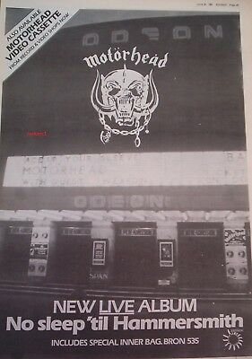 MOTORHEAD No sleep 'til Hammersmith 1981 Poster size Press ADVERT 16x12 inches