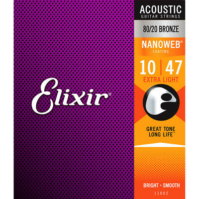 Elixir E11002 80/20 Bronze Acoustic Strings, Extra Light, 10-47