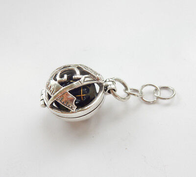 Sterling Silver & Enamel Mother Pearl Inlay Masonic World Globe Ball Fob