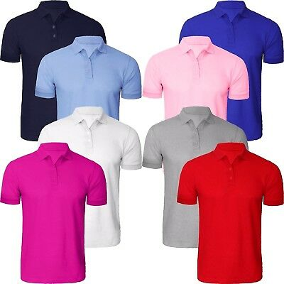 Mens Plain Polo Shirt Short Sleeves TShirt Regular Casual Style Pique Tee Top UK