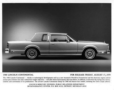 1980 Lincoln Continental Town Coupe ORIGINAL Factory Photo oub7429
