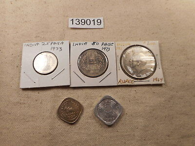 Lot - India - Five Coins - 1950's-1970's - Very Nice Collector Grade - # 139019