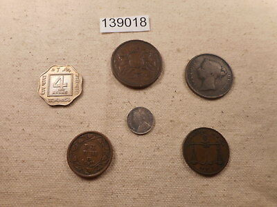 Lot - India - Six Coins - 1830's, 1870's 1920's Nice Collector Grade - # 139018