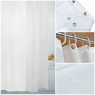 Extra Long Wide Extra Drop Waterproof Fabric Bathroom Shower Curtain With Hooks