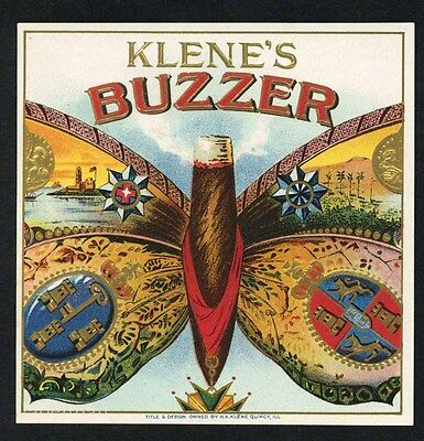 BUZZER Brand, Vintage Outer Cigar Label, Butterfly, S16