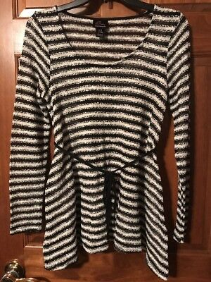 Oh Baby By Motherhood Long Sleeve Maternity Black Striped Sweater Top Sz S