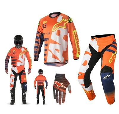 Alpinestars Race Braap Combo 2018 Hose Jersey orange blau weiss