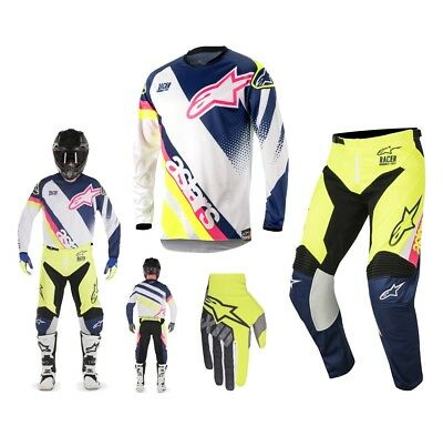 Alpinestars Race Supermatic Enduro Combo 2018 weiss blau gelb
