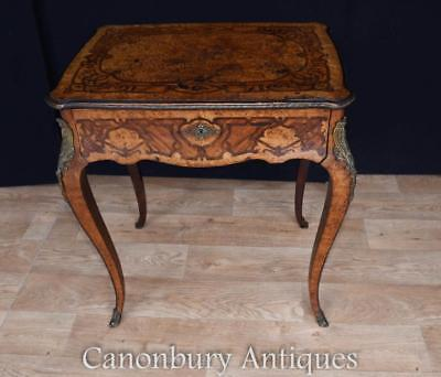 Antique French Side Table Exotic Wood Inlay 1880