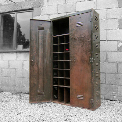 Large Industrial 1940s 50s Factory Cabinet Metal Green Wine Storage Cupboard
