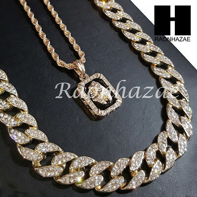 """New 14k Gold PT King-Tut Pendant 15mm Iced Out Miami Cuban 30"""" Necklace SET S192"""