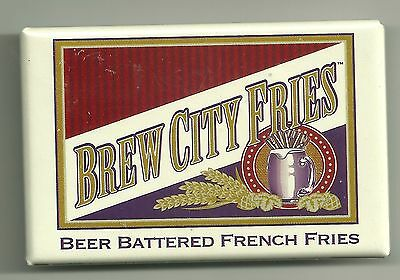 Advertising Pinback Button  Brew City Fries  Beer Battered French Fries