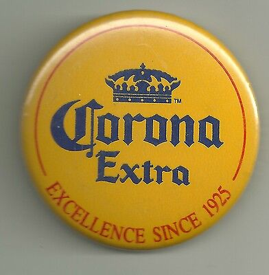 Advertising Pinback Button   Corona Extra  Excellence Since 1925  Beer Alcohol