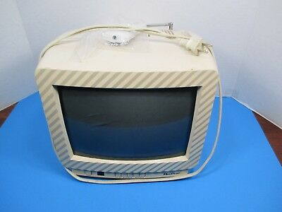 "Vintage 1989 Portable Quasar White 11"" Television with Working Remote VSL"