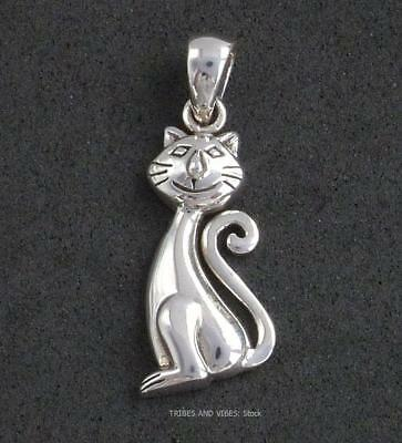 Happy Cat Pendant 925 Sterling Silver Sea Gems feline pet kitty moggy