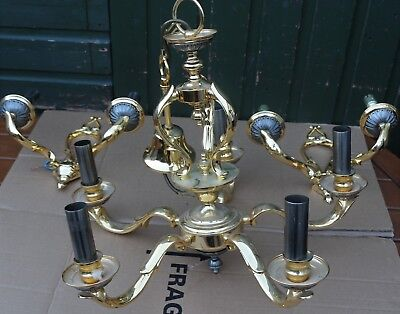 Heavy Quality Brass 5 Branch Light Fitment & Pair Of Matching Light Sconces