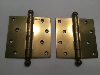 """(2) 4 1/2"""" x 4 1/2 """"Vintage Stanley Brass Plated Cannon Ball Top Tip Door Hinges"""