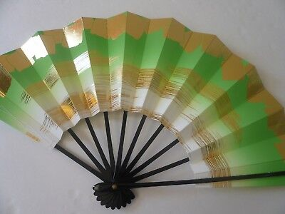 "Japanese Odori Dance Hand Held ""Sensu"" Fan Green W/Gold Wave/Made in Japan"