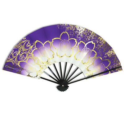 "Japanese Odori Dance Hand Held ""Sensu"" Fan Purple W/Sakura Pattern/ Made Japan"