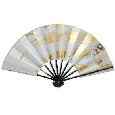 "Japanese Odori Dance Hand Held ""Sensu"" Fan Gray W/ Gold/Made in Japan"