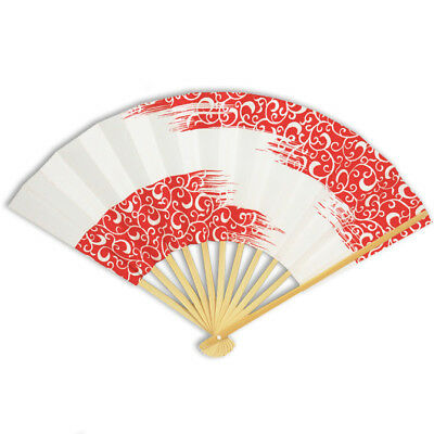 Japanese Geisha Odori Dance Hand Held SENSU Folding Fan Red Karakusa/ Made Japan