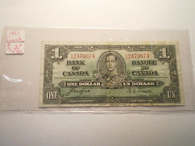 1937 One Dollar Note Bank Of Canada