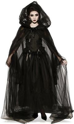 Black Hooded Cape Gothic Vampire Fancy Dress Halloween Adult Costume Accessory