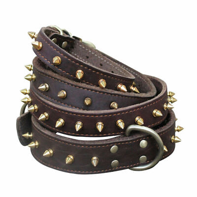 Pet Puppy Metal Spiked Studded Rivet Small Large Dog Collar Handmade Leather