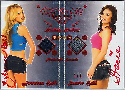 2012 Benchwarmer Dual Swatch Auto: Jessica/stacie Hall #1/1 Of One Red Autograph