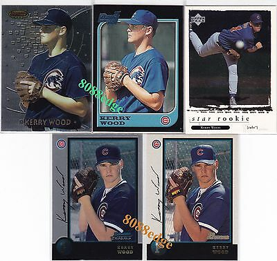 (5) Bowman Chrome Best Ud Rookie Cards: Kerry Wood - Chicago Cubs Rc Lot Mint