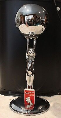 Rare Deco Nude Lady Diana Lamp Base Supporting A Stylistic Earth Chrome Scupture