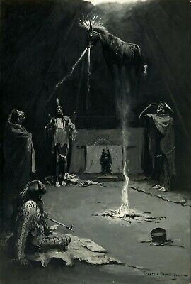 Indian Fire God  by Frederic Remington Giclee Repro Canvas