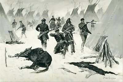 The Defeat of Crazy Horse by Frederic Remington Giclee Repro Canvas