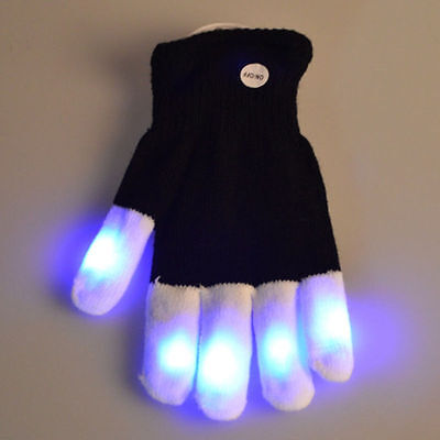 1pcs x LED Flashing Glove Black And White Glove Light Up Finger Lighting New