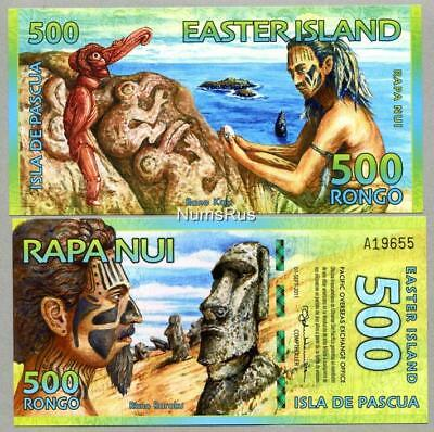 2011 Colorful Easter Island 500 Rongo Polymer Banknote UNC - #BN260 NN01 09