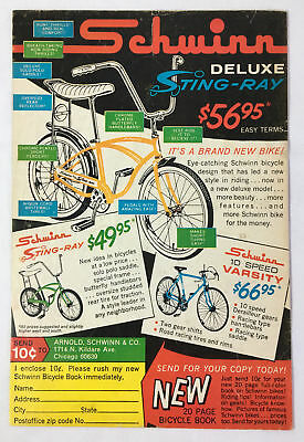 1964 SCHWINN bicycles ad page ~ Deluxe STING RAY