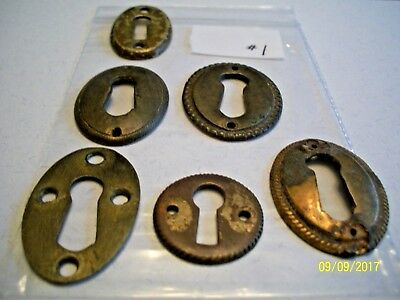 6 -  Solid Brass, Antique Key Hole Escutcheons, Lot #1