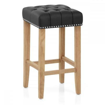 CLEARANCE Richmond Oak Breakfast Bar Stool Bonded Leather Seat Various Colours