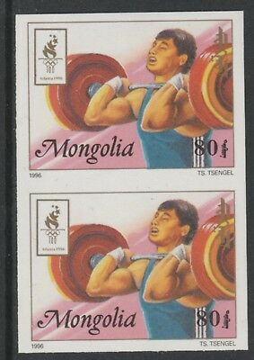 Mongolia 5542 - 1996 OLYMPICS - WEIGHTLIFTING IMPERF PAIR unmounted mint