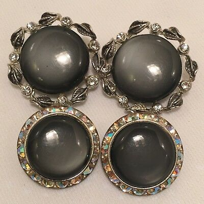 2 Prs Vintage Grey Moonglow Lucite Thermoset & Rhinestone Clip Backed Earrings!