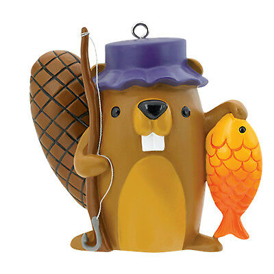 Carlton Heirloom Ornament 2017 Outdoorsman - Beaver with Fishing Pole - CXOR068M