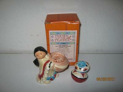 Enesco Friends Of The Feather-Girl With Pot-Salt And Pepper Shaker Set-With Box