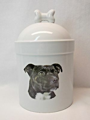 Staffordshire Black Bull Terrier Dog Porcelain Treat Jar Fired Head Decal  8In T