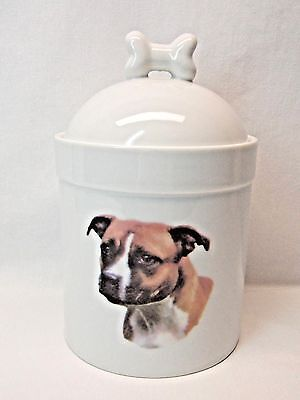 Staffordshire Brown Bull Terrier Dog Porcelain Treat Jar Fired Head Decal  8In T
