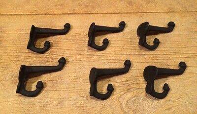 "Cast Iron Black Double Acorn Wall Hooks 3"" (Set of 6) Home Decor 0170S-531705B"