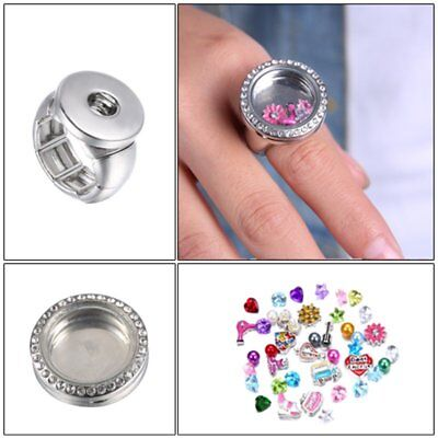Fashion DIY Ring Floating Locket Chunk Button For Snap Charms Family Jewelry