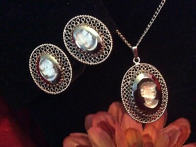 Vintage WHITING & DAVIS Mirrored Glass Cameo Chain Necklace W/ Matching Earrings