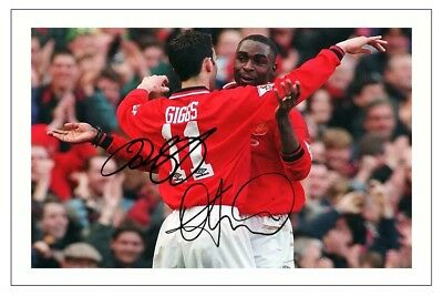 Andy Cole & Ryan Giggs Manchester United Autograph Signed Photo Print Soccer